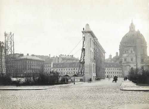 Karlsplatz, 1909: Die Bauschablone Otto Wagners für ein Historisches Museum der Stadt. Wagners Entwurf wurde nie gebaut (Foto: Wien Museum)