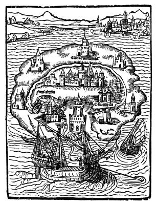 """Illustration aus der Erstausgabe von """"Utopia"""""""
